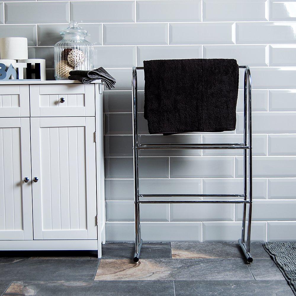 Home Discount® Towel Stand 3 Tier Bathroom Rack Free Floor Standing Towel Holder, In Chrome