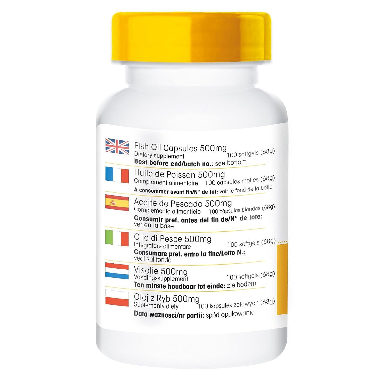 Aceite de pescado - rico en omega-3 - 500mg - Warnke - 100 cápsulas: Amazon.es: Salud y cuidado personal