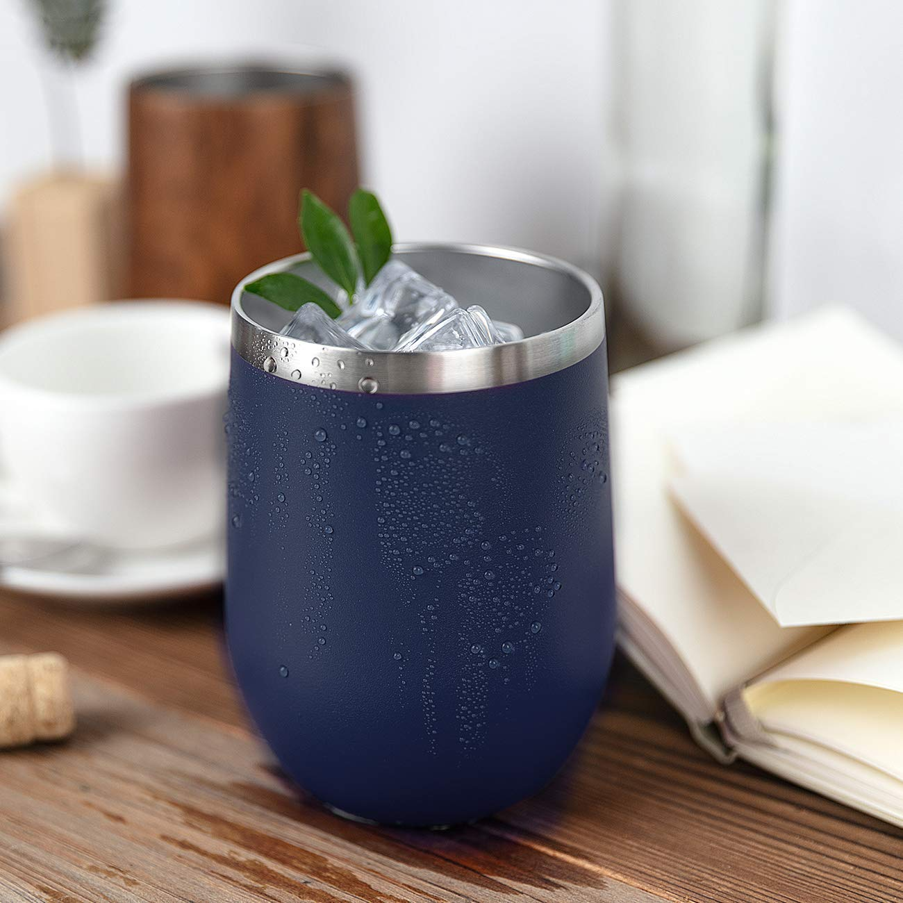 ONEB Stainless Steel Wine Tumbler with Lid, 12 OZ | Double Wall Vacuum Insulated Travel Tumbler Cup for Coffee, Wine, Cocktails, Ice Cream Cup With Lid (Navy, 12OZ-8pack) by ONEB (Image #7)