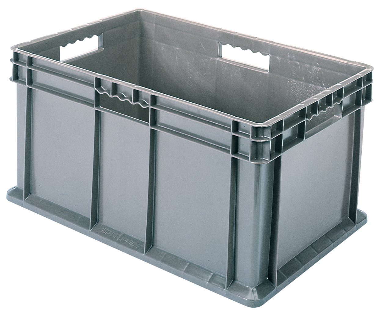 Akro-Mils 37686 24-Inch by 16-Inch by 16-Inch Straight Wall Container Tote with Solid Sides and Solid Base, Case of 2, Grey