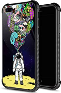 iPhone SE 2020 Case, Space Travel iPhone 8 Cases for Men Boys, Pattern Design Shockproof Anti-Scratch Organic Glass Case for Apple iPhone 7/8/SE 2020 4.7-inch Space Travel