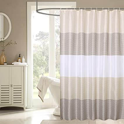 Amazon JUYOU Stripes Extra Wide Shower Curtain Taupe Beige