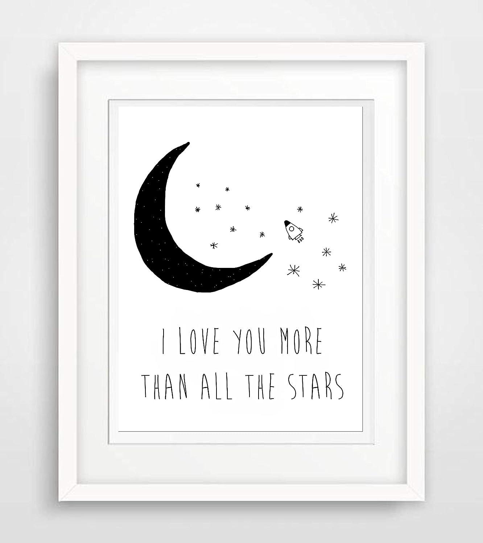 I love you more than all the star Liebe Leben Spr/üche Fine Art Print Poster Kunstdruck Plakat modern ungerahmt DIN A 4 Deko Wand Bild Spruch