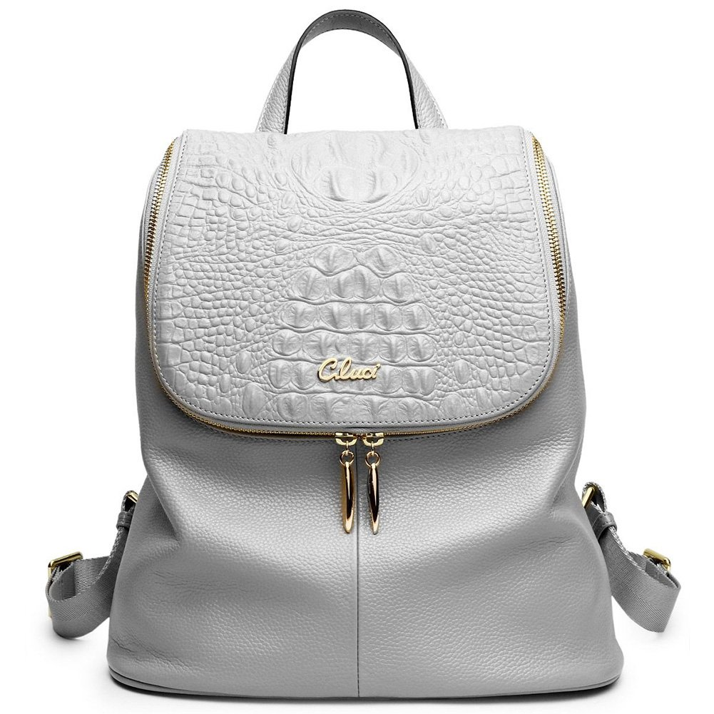 Women Backpack Purse Real Genuine Leather School Backpacks Ladies Travel Bag gray by Cluci