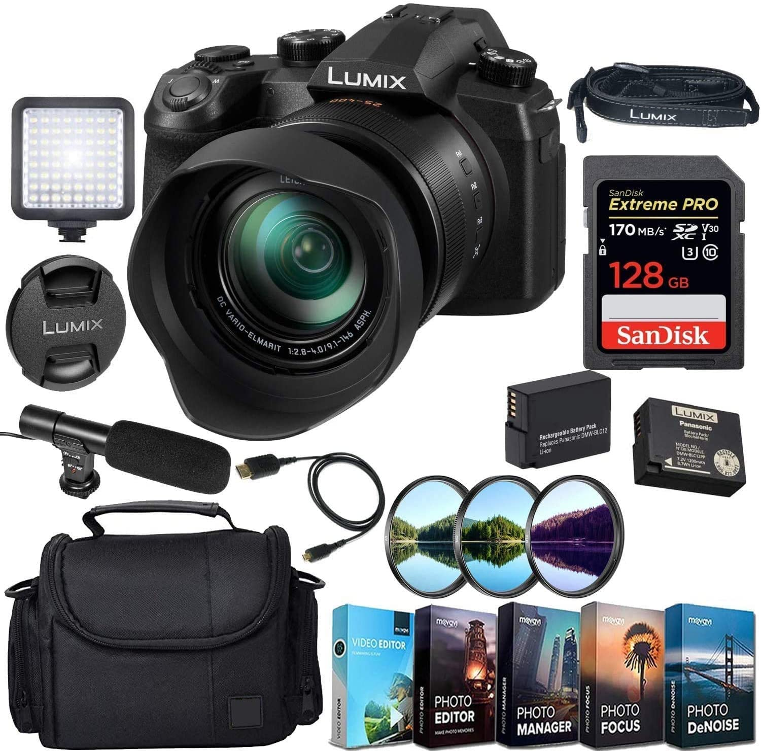 Panasonic Lumix DC-FZ1000 II Digital Camera with 128GB Extreme Sandisk Card, Camera Case, Micriphone, LED, 3pcs Filter Kit & More Accessory Kit