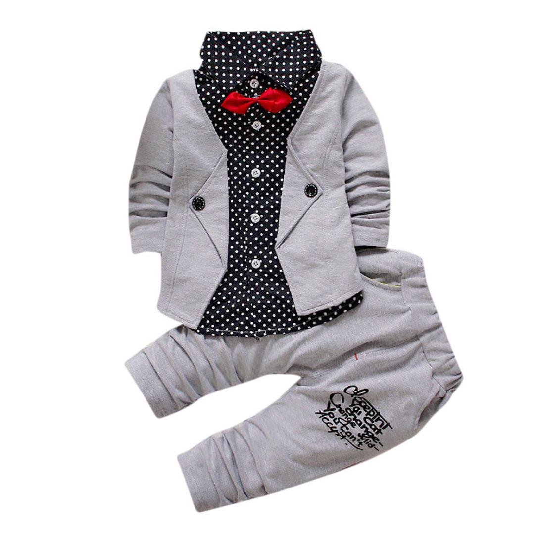 Gotd Baby Boy Clothes 2pcs Set Outfits Formal Party Christening Wedding Tuxedo Bow Suit Tops Pants (12-24 Months, Gray) Goodtrade8