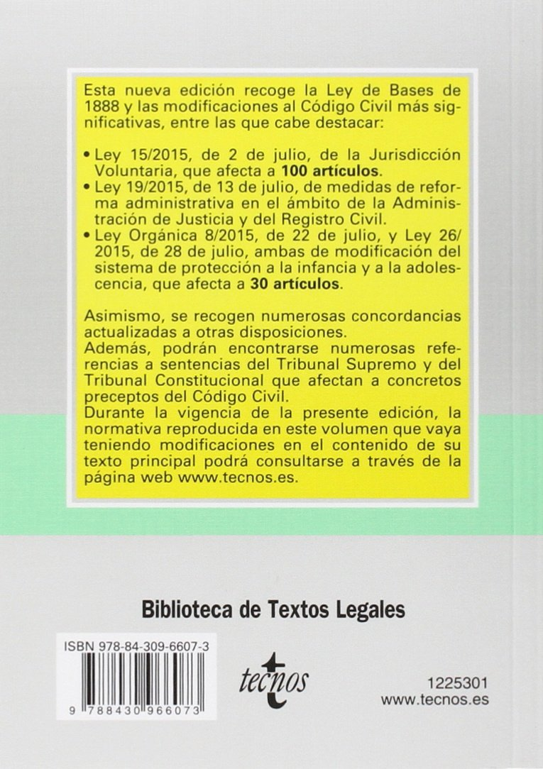 Código Civil - Edición 33 Derecho - Biblioteca De Textos Legales: Amazon.es: Editorial Tecnos: Libros