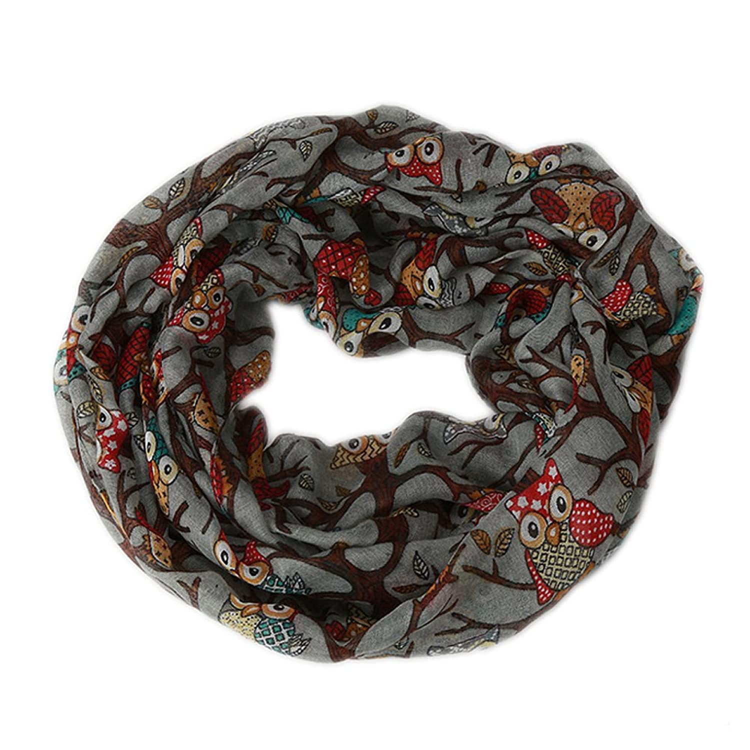 IvyFlair Women's Soft Elegant Owl on Tree Print Infinity Circle Loop Scarf