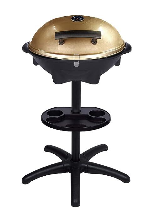 SUNTEC Barbacoa de pie/de mesa eléctrica BBQ-9479 [cubierta extraíble con indicador de temperatura, incl. compartimento para salsa, termostato ...