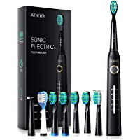 ATMOKO Electric Toothbrush with 8 Duponts Brush Heads, 5 Modes, 4 Hour Fast Charge for 30 Days Use, 40,000 VPM Motor…