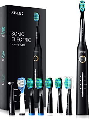 ATMOKO Electric Toothbrushes for Adults with 8 Duponts Brush Heads, 5 Modes, 4 Hour Charge for 30 Days Use, 40, 000 VPM Motor, Rechargeble Power Whitening Sonic Toothbrush, Dentists Recommend, Black