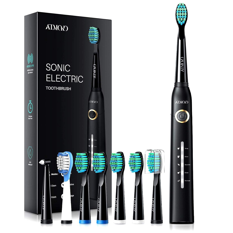 Atmoko Sonic Black Rechargeable Electric Toothbrush