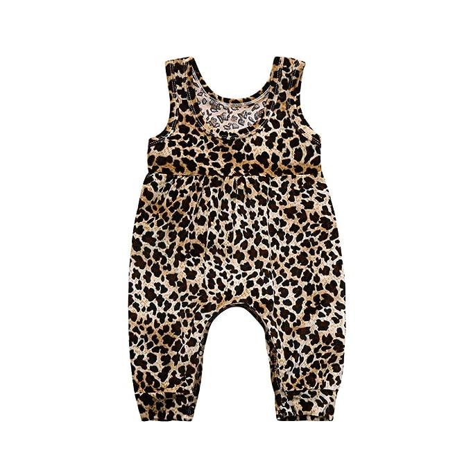 Amazon.com: fartido Pelele para bebé niña leopardo=, overol ...