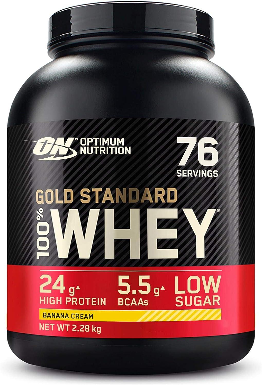 Optimum Nutrition Gold Standard 100% Whey Proteína en Polvo, Glutamina y Aminoácidos Naturales, BCAA, Crema de Plátano, 76 Porciones, 2.28kg, Embalaje ...
