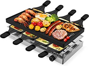 Electric Griddle Grill, LaraLov 2-in-1 Health Nonstick Pan Coated Smokeless Grill Indoor, 1500W Fast Heating Portable Kitchen Raclette Table Top Pancake Electric Grill Griddle, Stepless Temperature Adjustment, Full Metal Three-layer Design with 8 Trays+8 Shovels+Recipes( Including Baking, Heat Preservation and Storage Layers) Ideal for 2-10 People with BBQ Parties & Family Fun, Easy to Clean
