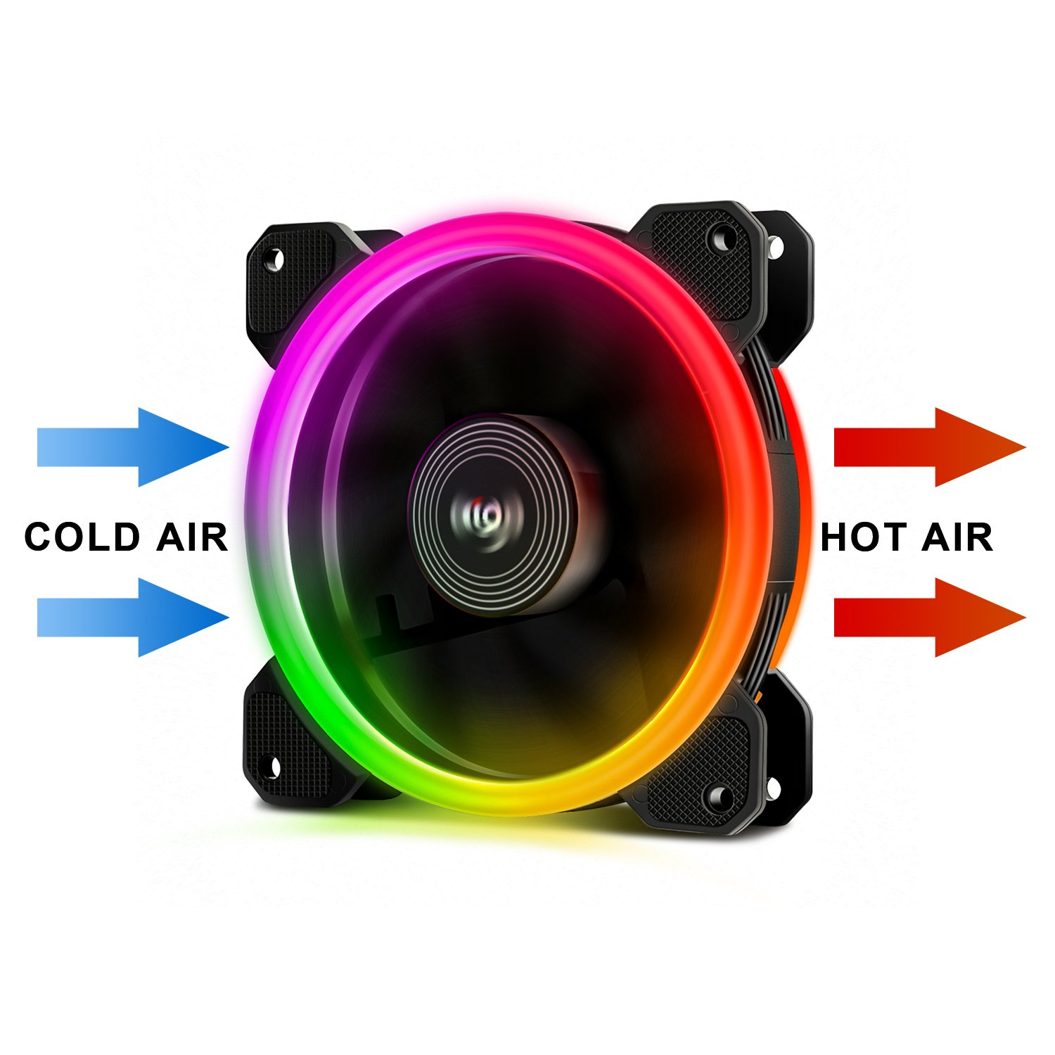 Aigo Aurora DR12 3IN1 Kit Case Fan 3-Pack RGB LED 120mm High Performance High Airflow Adjustable colorful PC CPU Computer Case Cooling Cooler with Controller (DR12 3IN1) by Aigo (Image #4)