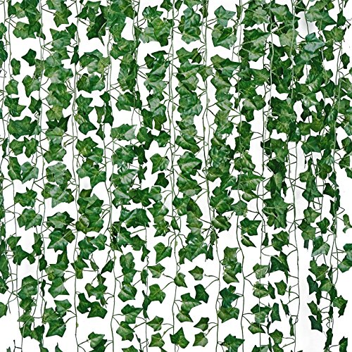 84FT-12 Pack 81 Leaves Artificial Boston Ivy Hanging Plants Faux Greenery Vines Fake Garland for Party Home Wedding Wall Décor Garden Office