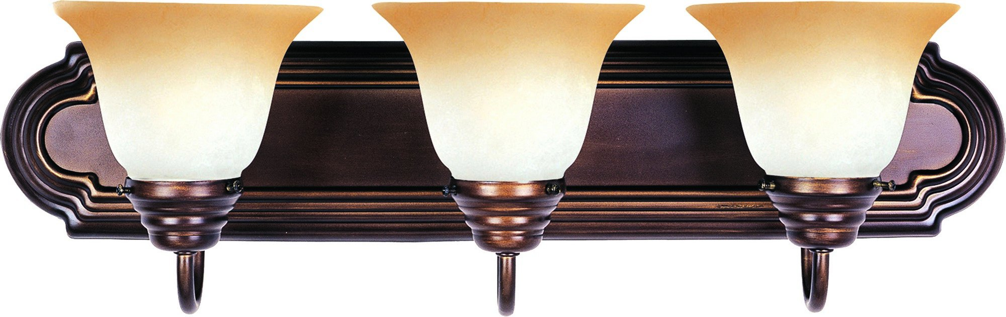 Maxim 8013WSOI Essentials 3-Light Bath Vanity, Oil Rubbed Bronze Finish, Wilshire Glass, MB Incandescent Incandescent Bulb , 60W Max., Dry Safety Rating, Standard Dimmable, Metal Shade Material, Rated Lumens