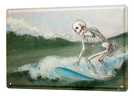 Cartel Letrero de Chapa Motivos De Fantasía Huesos de surf ...