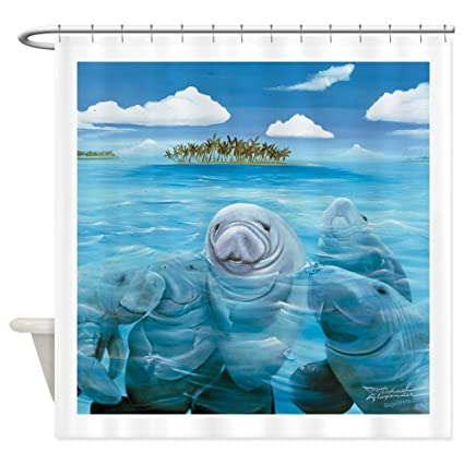 CafePress Manatee Party Shower Curtain Decorative Fabric 69quot