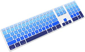 ProElife Silicone Full Size Ultra Thin Keyboard Cover Skin for Apple iMac Keyboard with Numeric Keypad Wired USB MB110LL/B-A1243 (Blue)