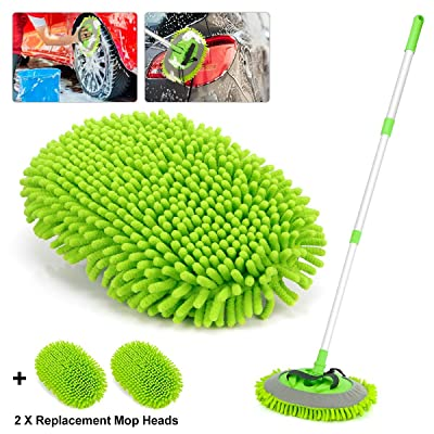 Car Wash Mop Mitt 2-in-1 Chenille Microfiber Auto Dust Brush Windshield Cleaner Tool with Extendable Handle,Not Hurt Paint Scratch Free Car Cleaning Tool with 2 Reusable Microfiber Mop Head (Green): Automotive