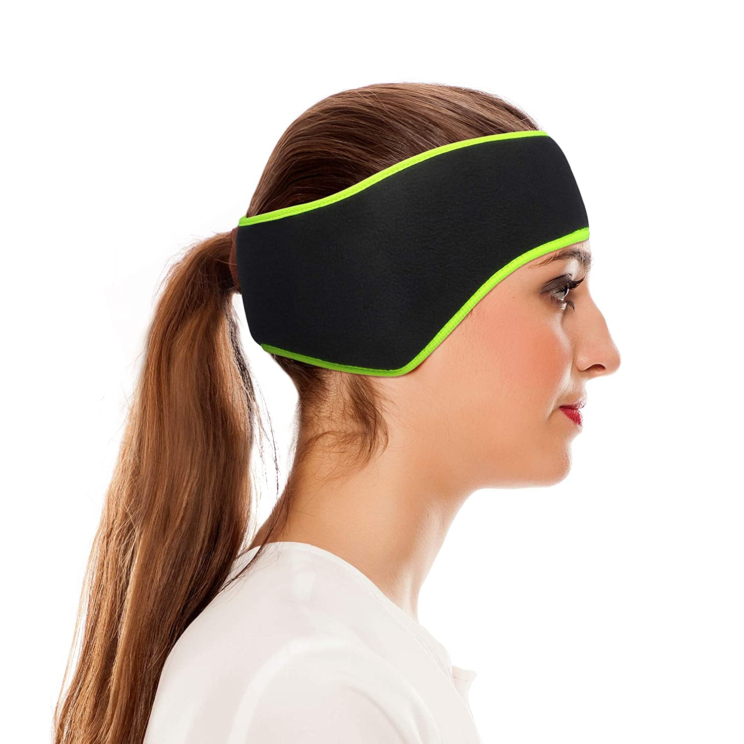 Omeneex Women Ear Warmers headband Double-Layer Fleece More Thicker Men/'s Headband//Women/'s Ponytail Earband Ear Warmer Black-Hi-vis Green