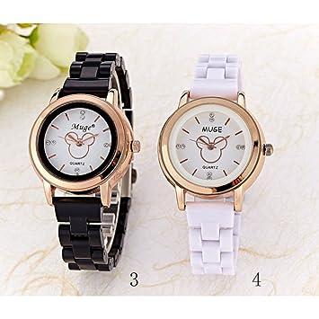 BLUEUK Relojes de Pulsera Pieza Acero Completo Reloj Mujer Marca Tres Hojas Patrón Mujer Casual Analógico
