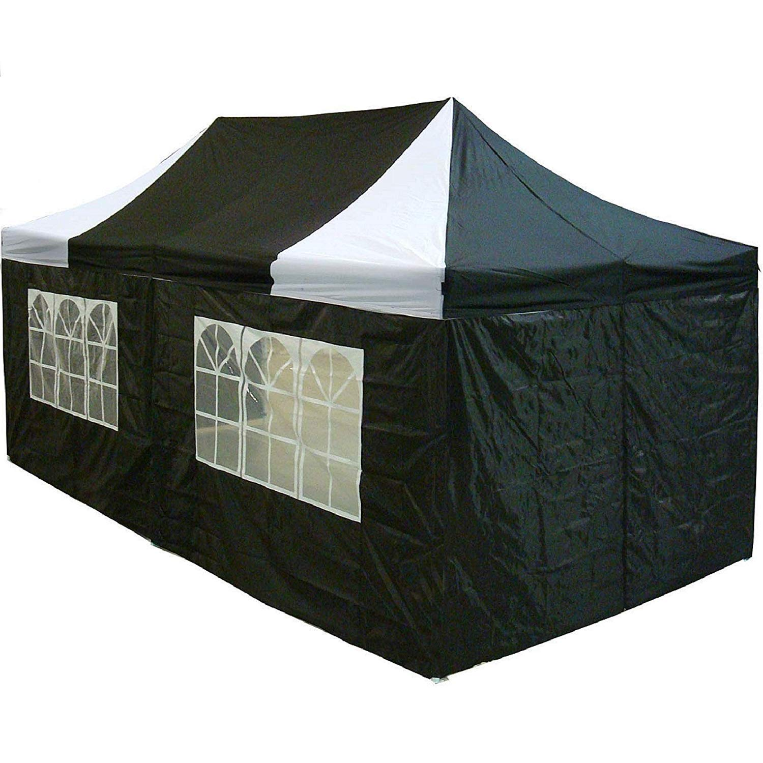 10 x20 Pop up 6 Walls Canopy Party Tent Gazebo Ez Black White – F Model Upgraded Frame By DELTA Canopies