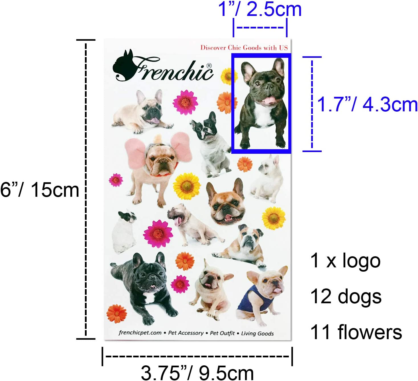 French Bulldog Photo Vivid Image Sticker Kawaii Dogs for paper craft and agenda or decoration Good seals