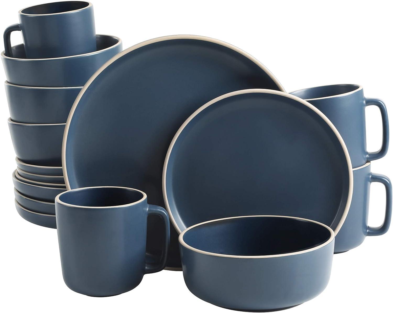 Gibson Home Zuma 16 Piece Round Kitchen, Dishes, Plates, Bowls, Mugs Dinnerware Sets, Service for Four (16pcs), Cobalt