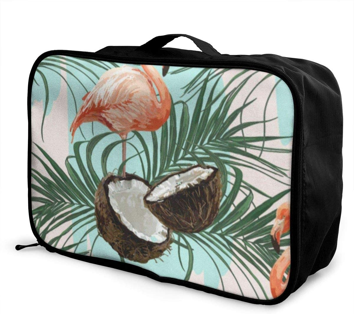 Travel Bags Flamingo Coconut Portable Tote Custom Personalized Trolley Handle Luggage Bag