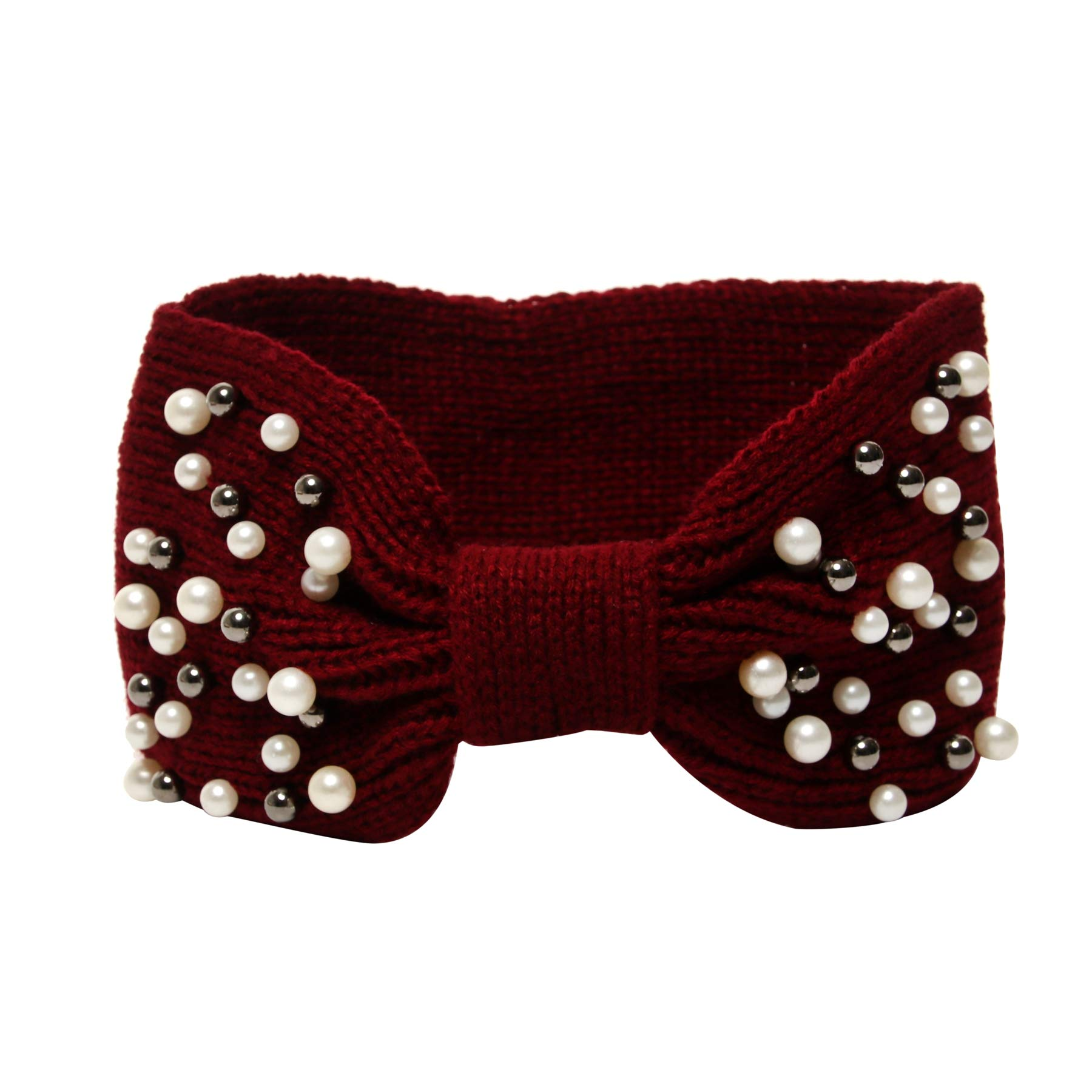 La Carrie Women's Winter Knitted Headband Chunky Crochet Ear Warmer(Burgendy)