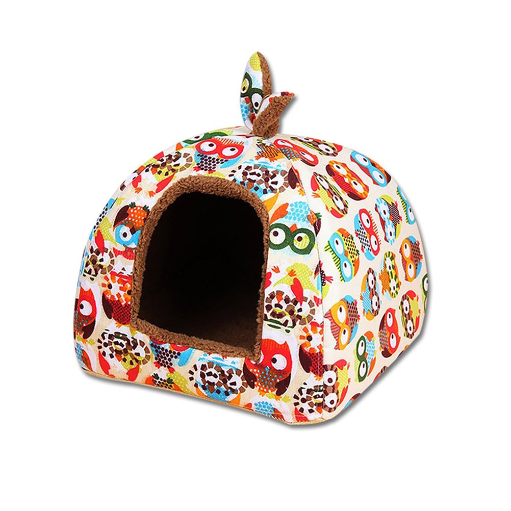 UEETEK Detachable Dog Cat Cave Bed House Tent Bunny Ears Soft Warm Dog Basket Cushion size L