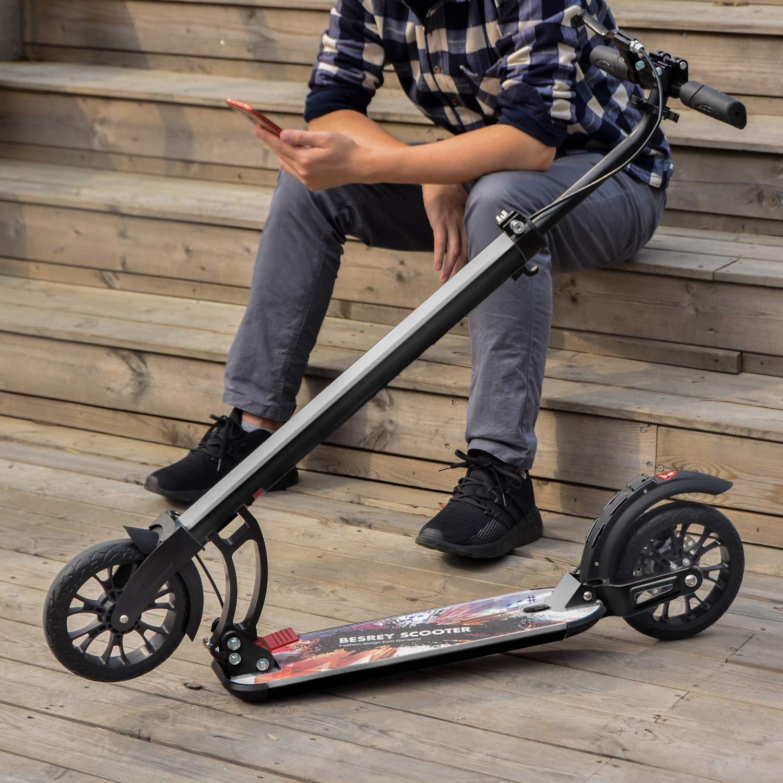 Nero besrey Monopattino Big Wheel Kick Scooter