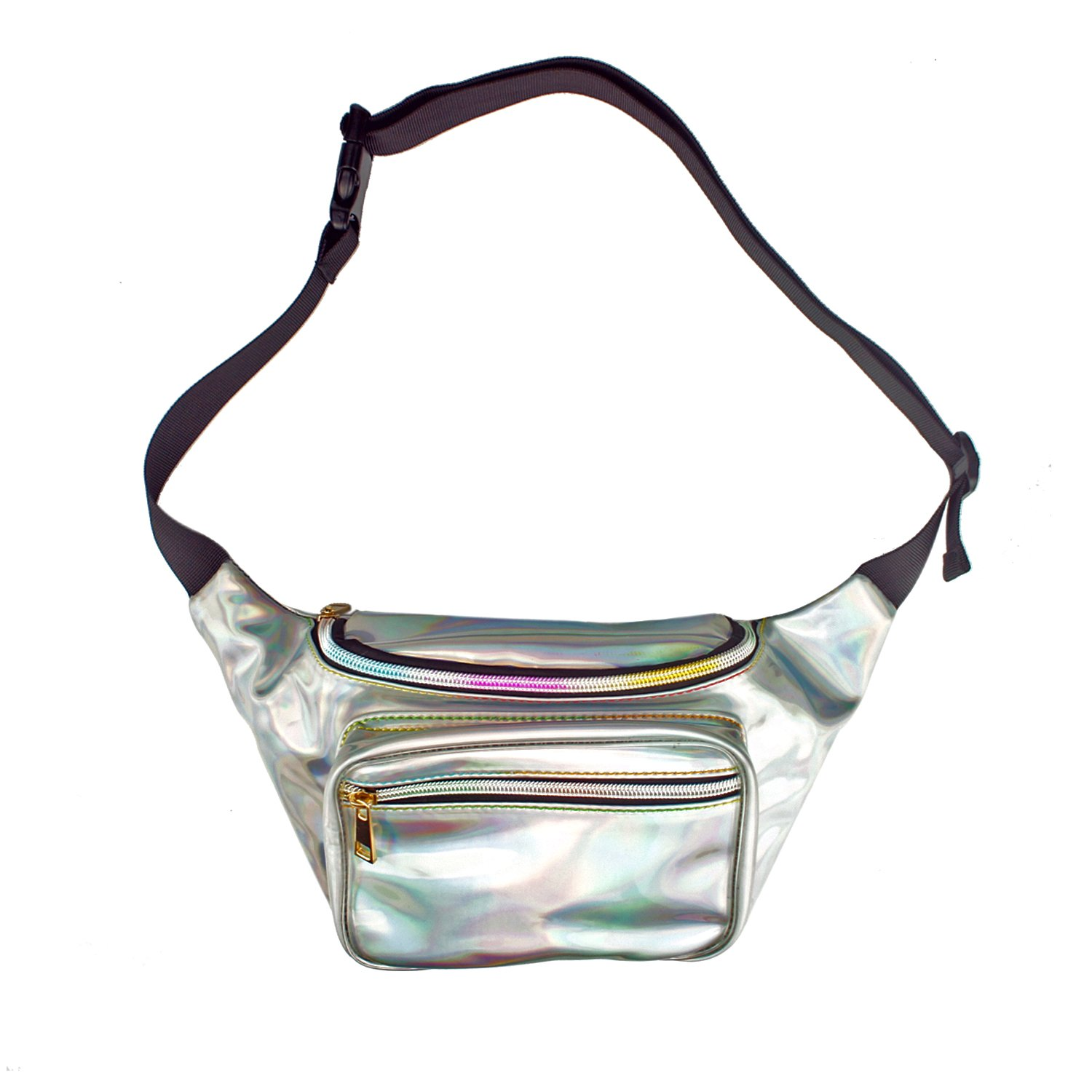 Holographic Silver Beach Beach Party ZELIN Fanny Pack for Women and Men Waterproof Laser Waist Bag Trip 80s//90s Rave Holographic Festival