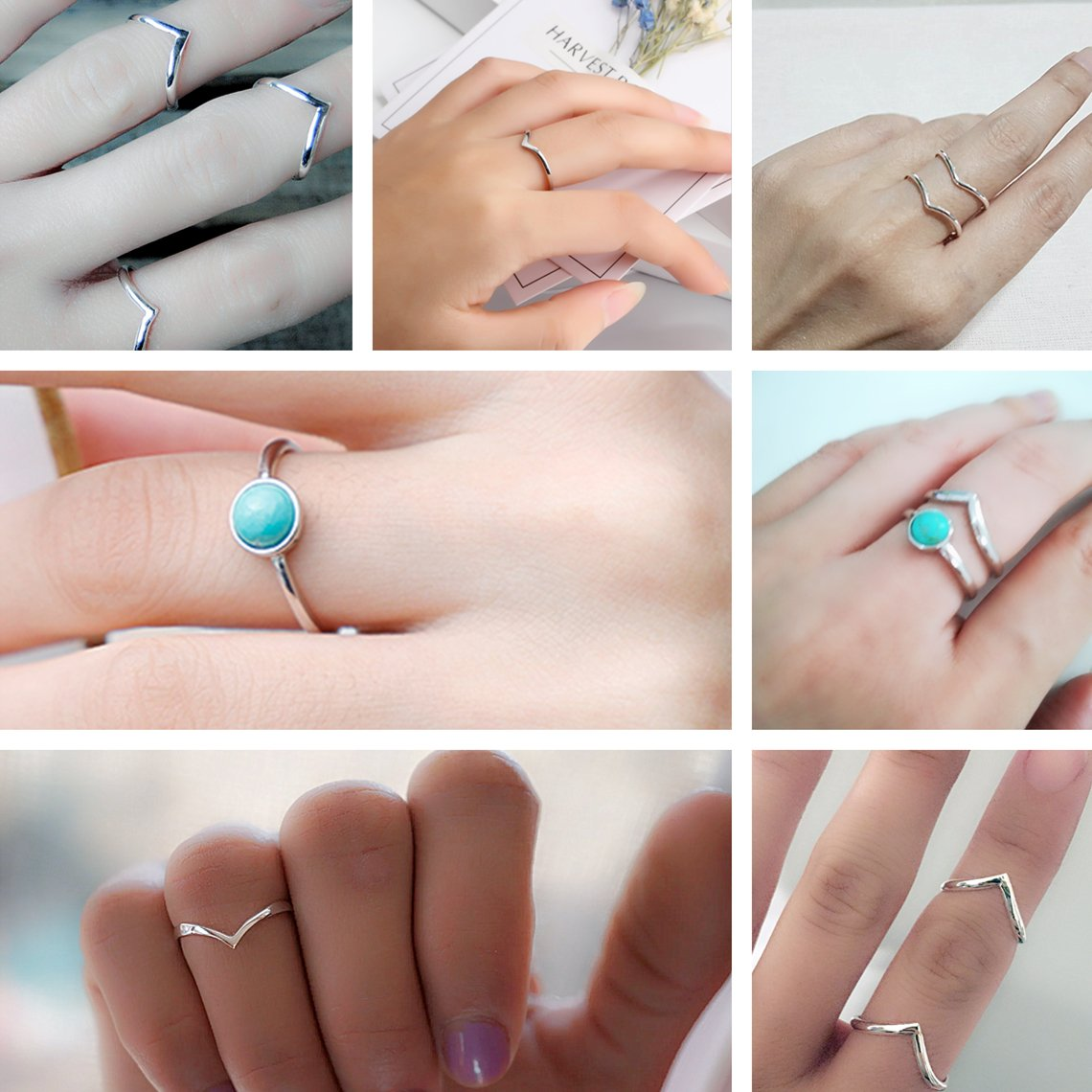 FUNRUN JEWELRY 2 PCS Sterling Silver Stackable Rings for Women Girls Chevron Thumb Turquoise Rings Set High Polish Size 9 by FUNRUN JEWELRY (Image #4)