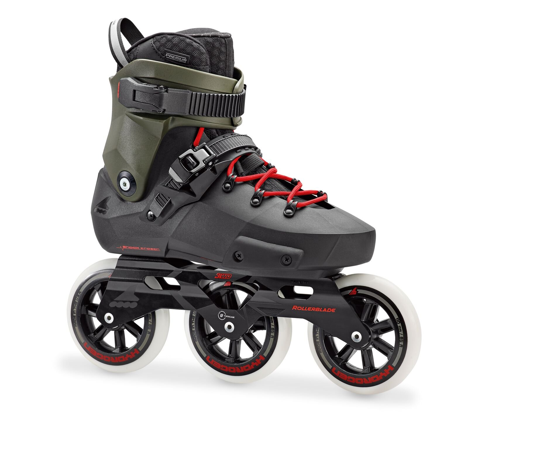 Rollerblade Men's Twister Edge 110 3Wd Fitness Inline Skate, Black/Army Green, Size 9 by Rollerblade