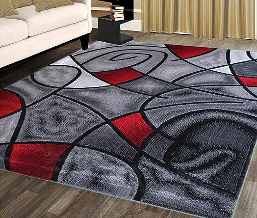 Masada Rugs, Modern Contemporary Area Rug, Red Grey Black. 8 Feet X 10 Feet