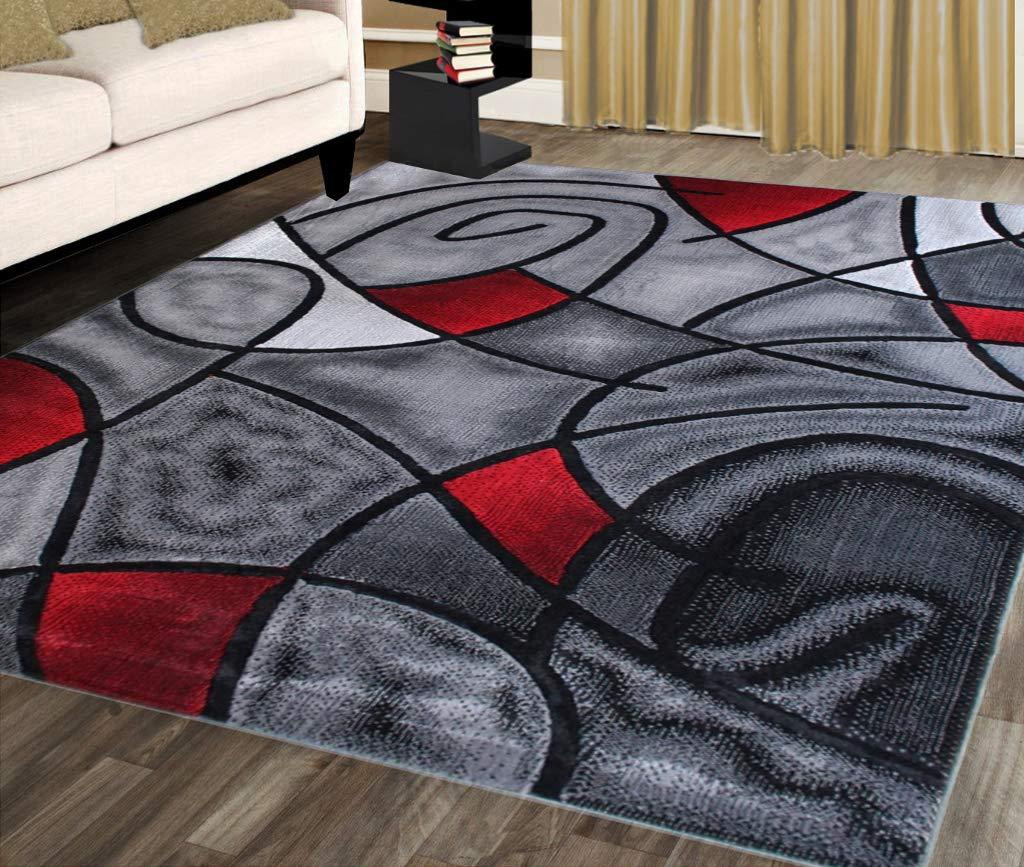 Masada Rugs, Modern Contemporary Area Rug, Red Grey Black ...
