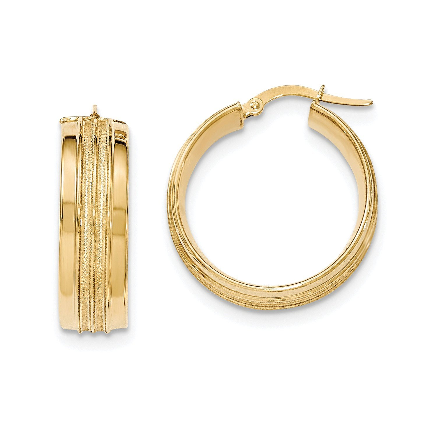 Roy Rose Jewelry 14K Yellow Gold Textured and Polished Hoop Earrings 26mm length