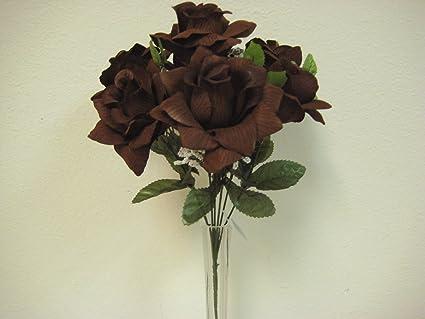 Amazon phoenix silk 2 bushes open rose 7 artificial silk phoenix silk 2 bushes open rose 7 artificial silk flowers 15quot bouquet sn039 chocolate mightylinksfo