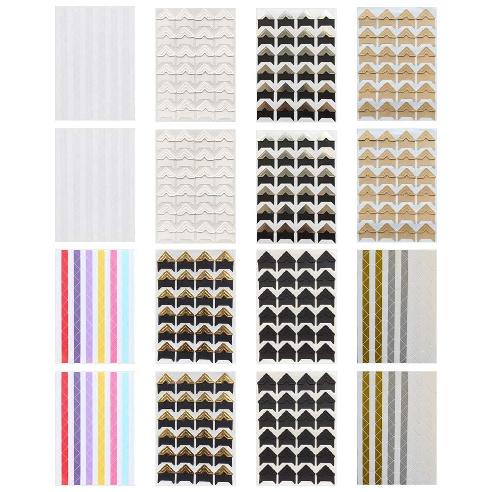GLOBALDREAM Angoli per Foto 16 Fogli Adesivi per Il Montaggio di Foto Adesivi in Carta Fai-da-Te Adesivi angolari per Album fotografici Decorazione per cornici Scrapbooking