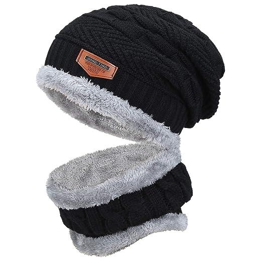 d2e90634c Fantastic Zone 2-Pieces Winter Beanie Hat Scarf Set Warm Knit Hat Thick  Fleece Lined Winter Hat & Scarf For Men Women