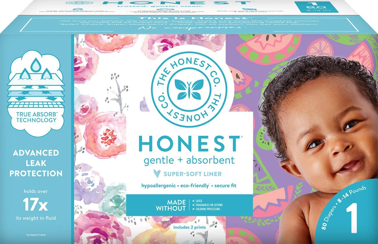 The Honest Company Club Box Diapers with TrueAbsorb Technology, Rose Blossom & Sliced Fruit, Size 1, 80 Count