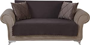 Chiara Rose Couch Covers for Dogs Sofa Cushion Slipcover 3 Seater Furniture Protectors Futon Cover, Loveseat, Diamond Brown