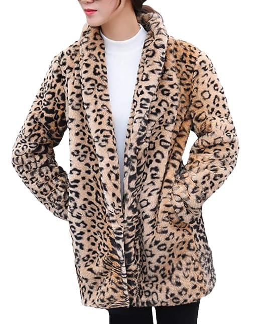 Abrigos Mujer Vintage Fashion Leopardo Chaqueta Piel Otoño ...