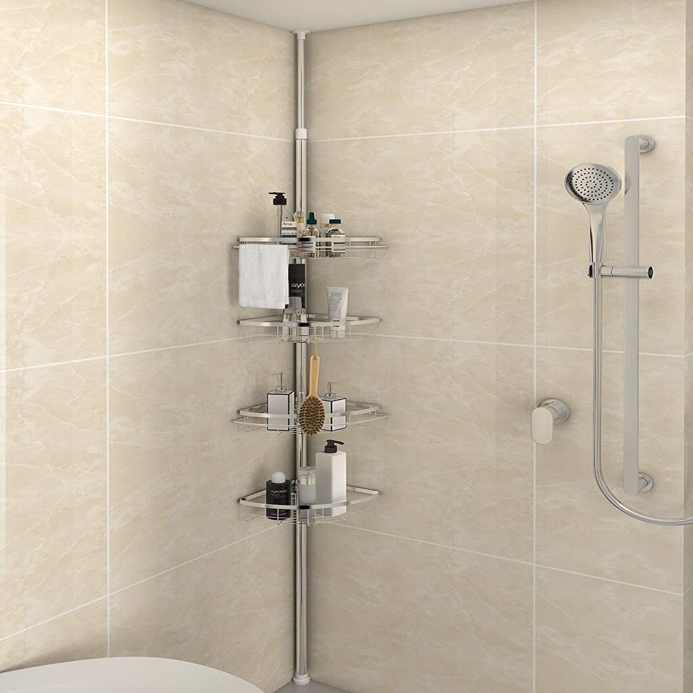 Lifewit doccia Caddy 4 livelli regolabile doccia Caddy costante Corner Pole Caddy per shampoo, balsamo, sapone