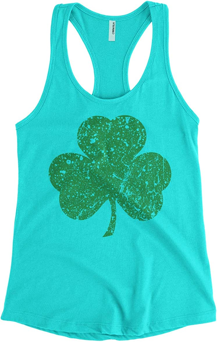 Womens Green Three Leaf Clover St Patricks Day Racerback Tank Top
