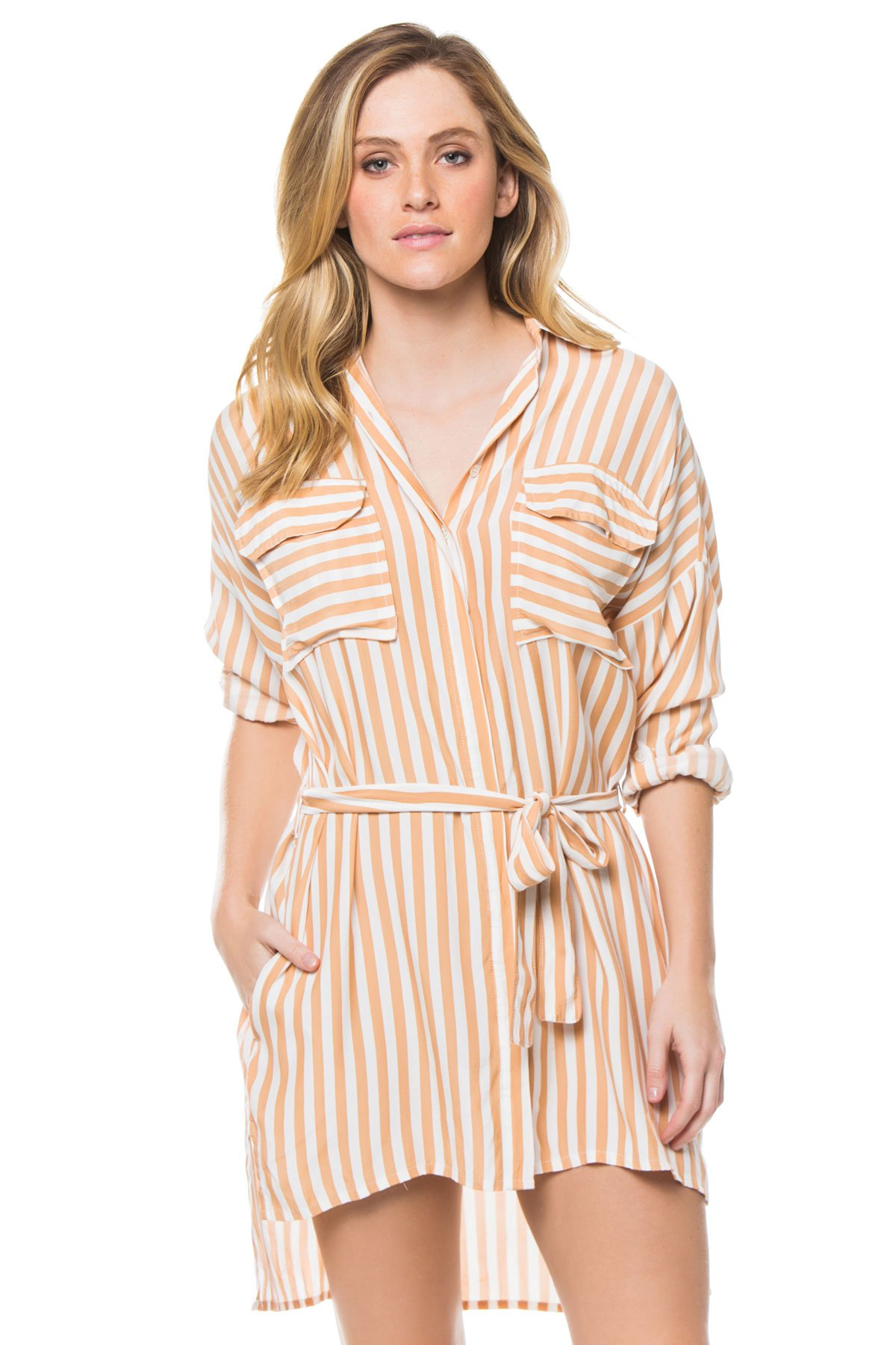 Faithfull The Brand Women's Shirt Dress Swim Cover Up Zeus Stripe Print - Vintage Pink 2